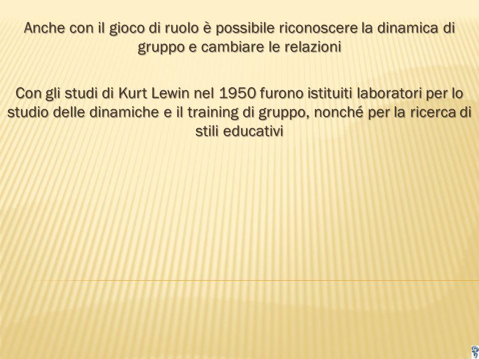 Anche con il gioco di ruolo è possibile riconoscere la dinamica di gruppo e cambiare le relazioni Con gli studi di Kurt Lewin nel 1950 furono istituiti laboratori per lo studio delle dinamiche e il training di gruppo, nonché per la ricerca di stili educativi