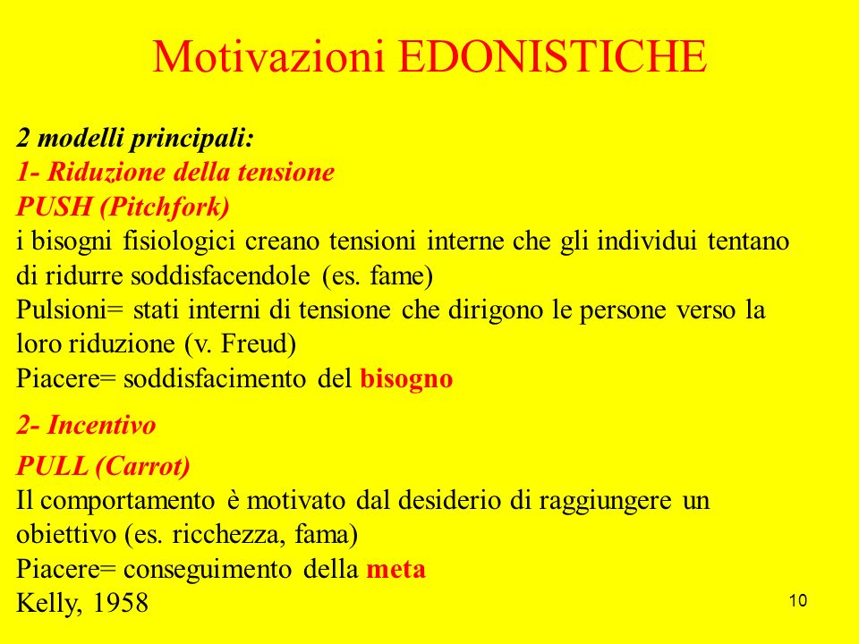10 Motivazioni EDONISTICHE 2 modelli principali: 1- Riduzione della tensione PUSH (Pitchfork) i bisogni fisiologici creano tensioni interne che gli individui tentano di ridurre soddisfacendole (es.