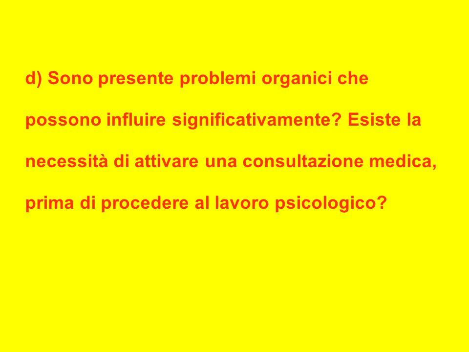 d) Sono presente problemi organici che possono influire significativamente.