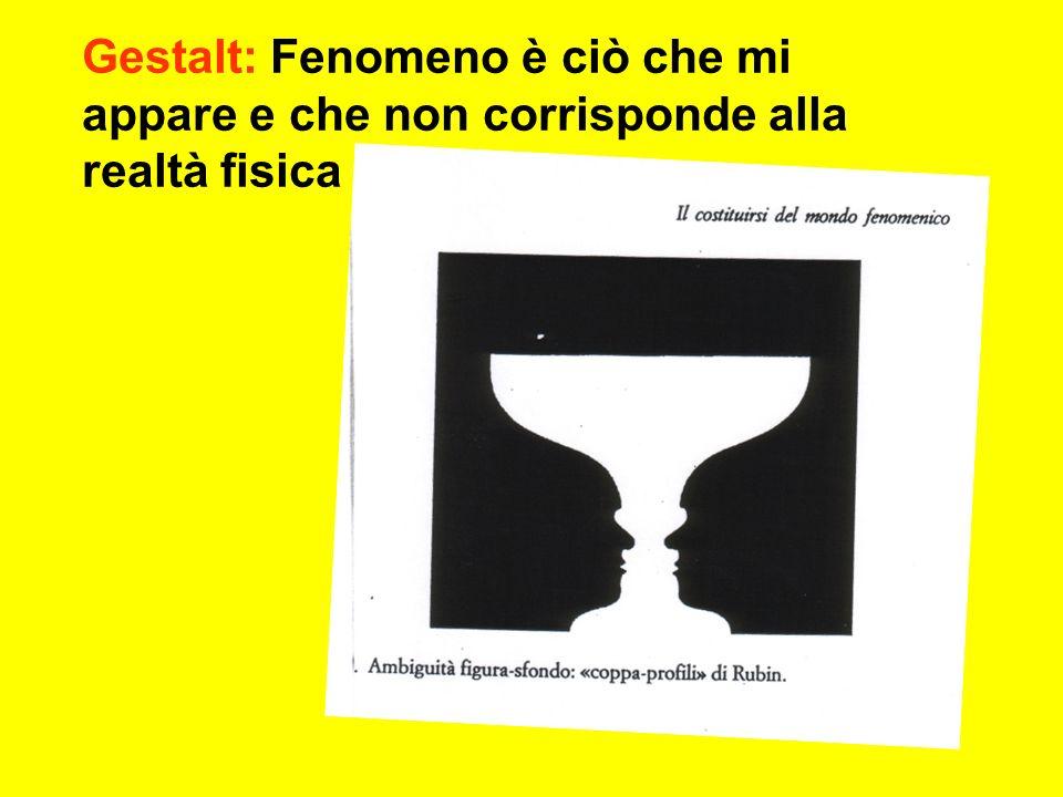 Gestalt: Fenomeno è ciò che mi appare e che non corrisponde alla realtà fisica