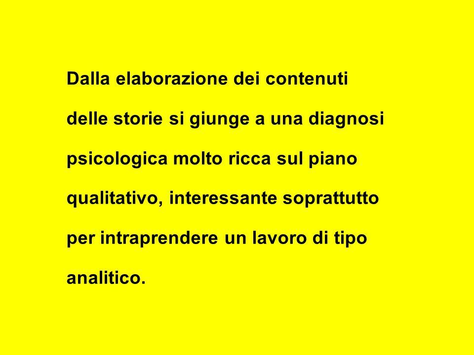 Dalla elaborazione dei contenuti delle storie si giunge a una diagnosi psicologica molto ricca sul piano qualitativo, interessante soprattutto per intraprendere un lavoro di tipo analitico.