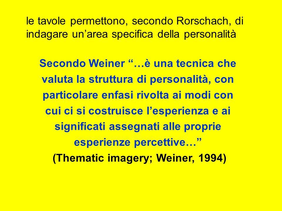 le tavole permettono, secondo Rorschach, di indagare unarea specifica della personalità Secondo Weiner …è una tecnica che valuta la struttura di personalità, con particolare enfasi rivolta ai modi con cui ci si costruisce lesperienza e ai significati assegnati alle proprie esperienze percettive… (Thematic imagery; Weiner, 1994)