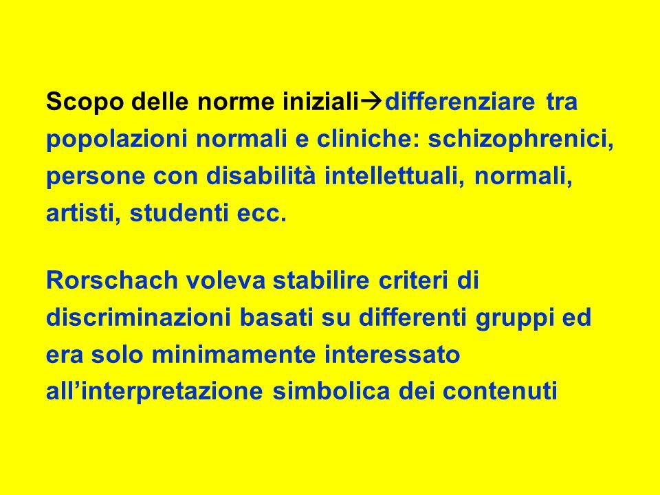 Scopo delle norme iniziali differenziare tra popolazioni normali e cliniche: schizophrenici, persone con disabilità intellettuali, normali, artisti, studenti ecc.