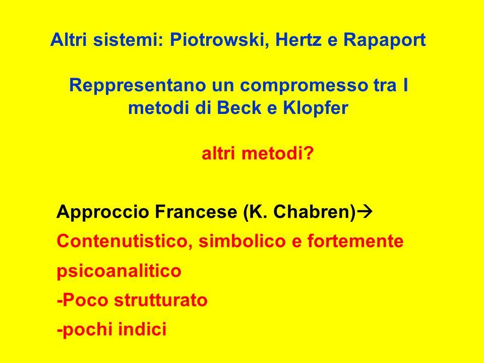 Altri sistemi: Piotrowski, Hertz e Rapaport Reppresentano un compromesso tra I metodi di Beck e Klopfer altri metodi.