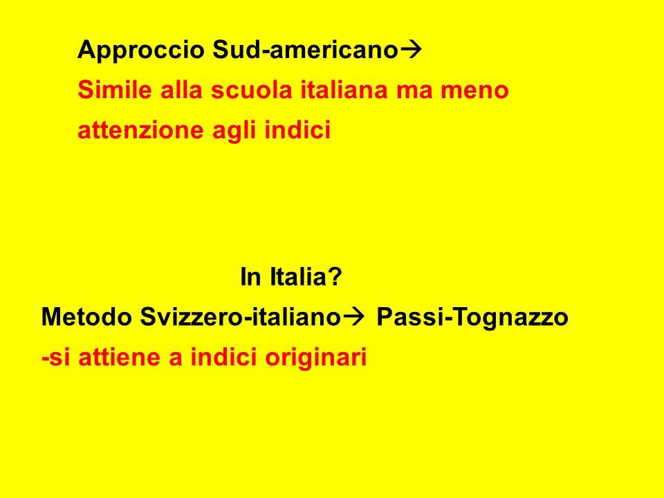 Approccio Sud-americano Simile alla scuola italiana ma meno attenzione agli indici In Italia.