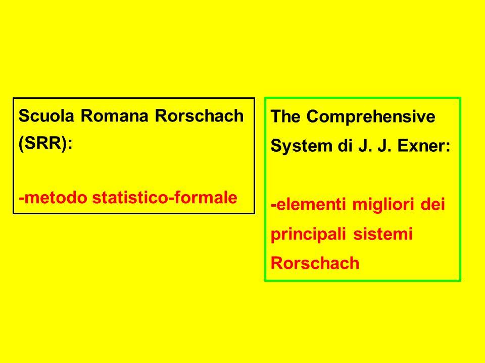 Scuola Romana Rorschach (SRR): -metodo statistico-formale The Comprehensive System di J.
