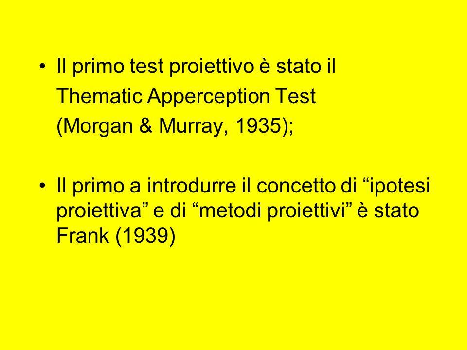 Il primo test proiettivo è stato il Thematic Apperception Test (Morgan & Murray, 1935); Il primo a introdurre il concetto di ipotesi proiettiva e di metodi proiettivi è stato Frank (1939)