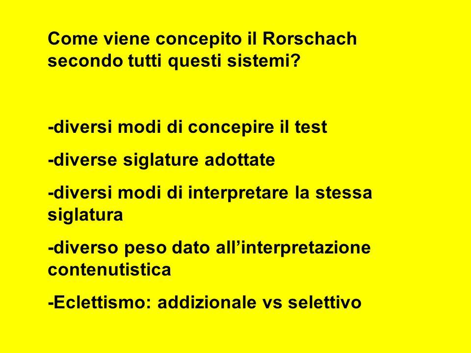 Come viene concepito il Rorschach secondo tutti questi sistemi.