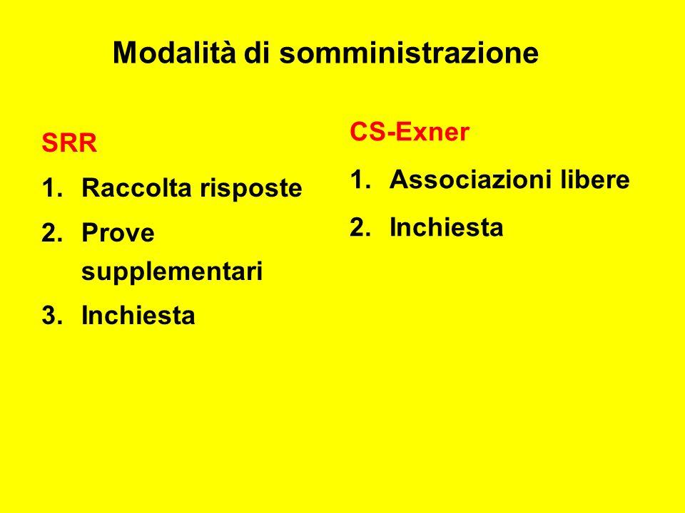 SRR 1.Raccolta risposte 2.Prove supplementari 3.Inchiesta CS-Exner 1.Associazioni libere 2.Inchiesta Modalità di somministrazione