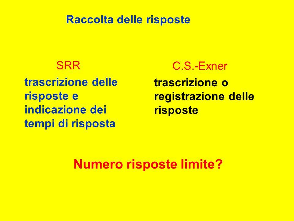 SRR trascrizione delle risposte e indicazione dei tempi di risposta C.S.-Exner trascrizione o registrazione delle risposte Raccolta delle risposte Numero risposte limite?