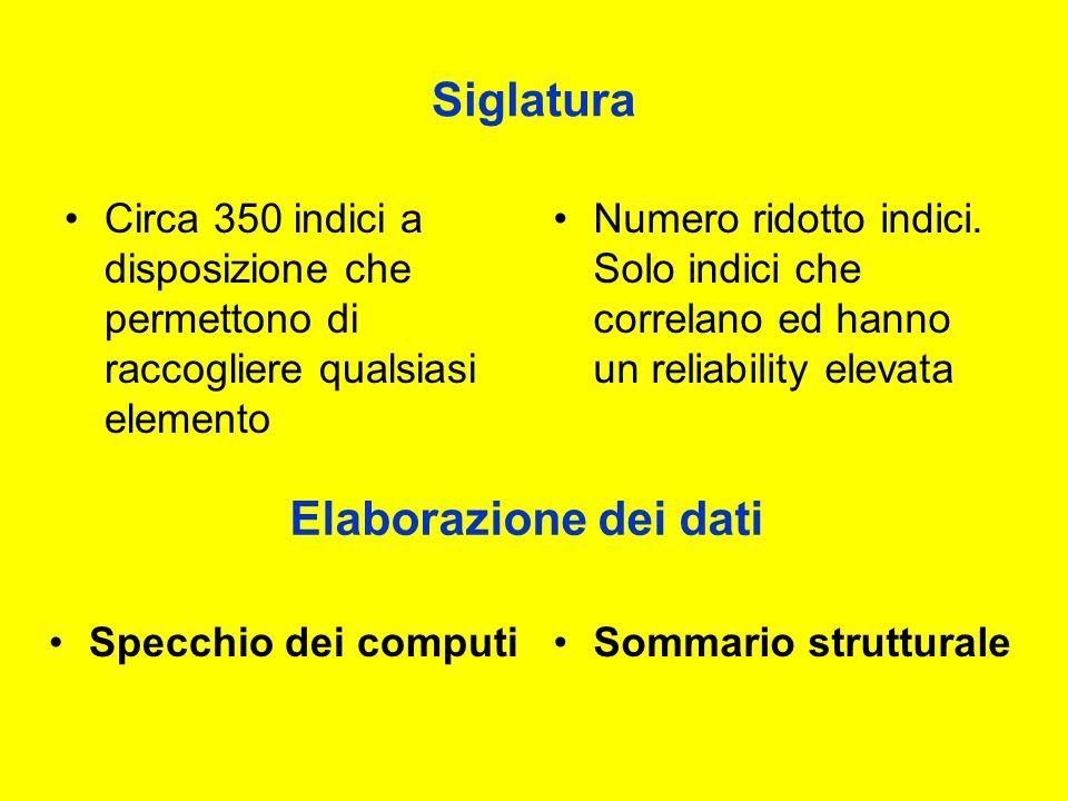 Siglatura Circa 350 indici a disposizione che permettono di raccogliere qualsiasi elemento Numero ridotto indici.
