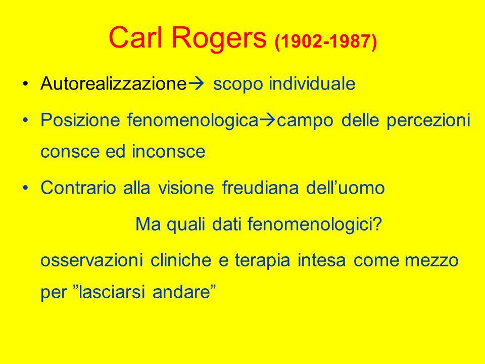 Carl Rogers (1902-1987) Autorealizzazione scopo individuale Posizione fenomenologica campo delle percezioni consce ed inconsce Contrario alla visione freudiana delluomo Ma quali dati fenomenologici.