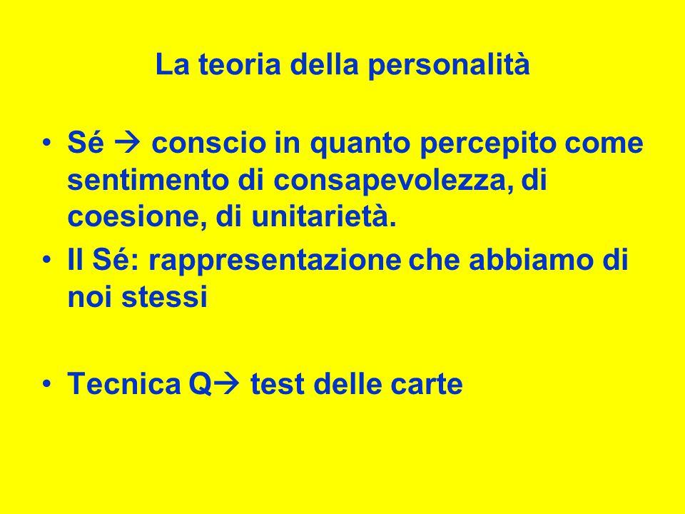La teoria della personalità Sé conscio in quanto percepito come sentimento di consapevolezza, di coesione, di unitarietà.