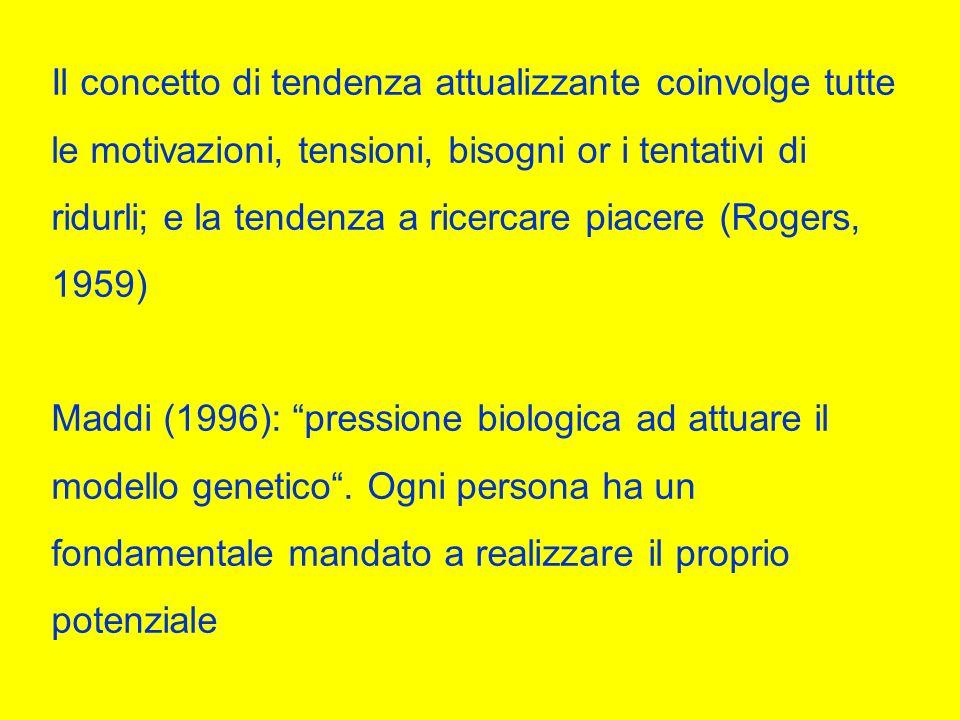 Il concetto di tendenza attualizzante coinvolge tutte le motivazioni, tensioni, bisogni or i tentativi di ridurli; e la tendenza a ricercare piacere (Rogers, 1959) Maddi (1996): pressione biologica ad attuare il modello genetico.