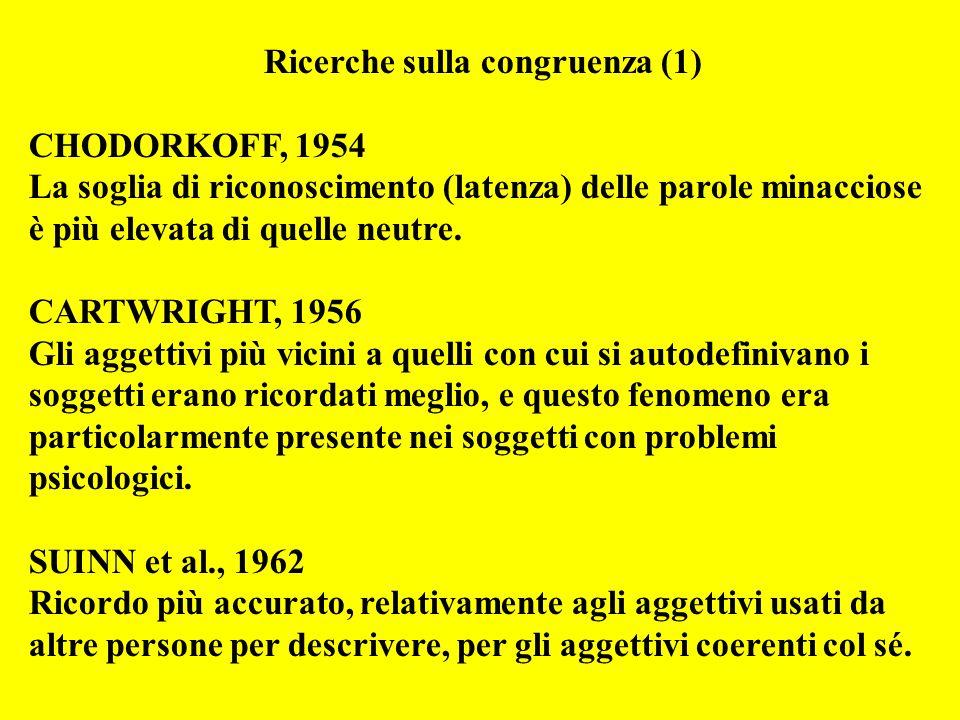 Ricerche sulla congruenza (1) CHODORKOFF, 1954 La soglia di riconoscimento (latenza) delle parole minacciose è più elevata di quelle neutre.
