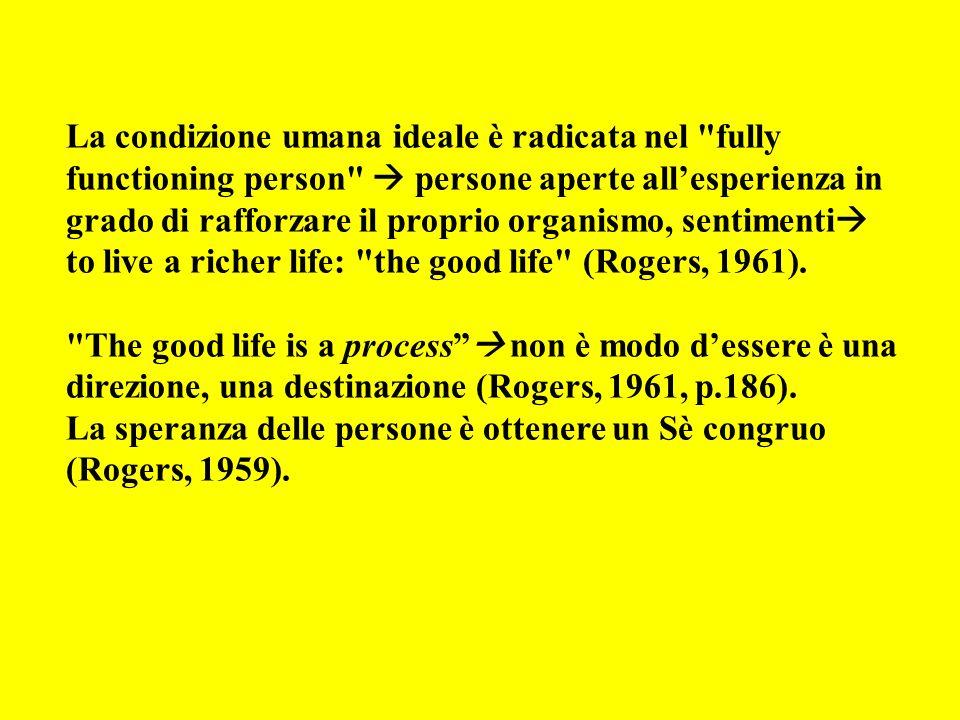 La condizione umana ideale è radicata nel fully functioning person persone aperte allesperienza in grado di rafforzare il proprio organismo, sentimenti to live a richer life: the good life (Rogers, 1961).