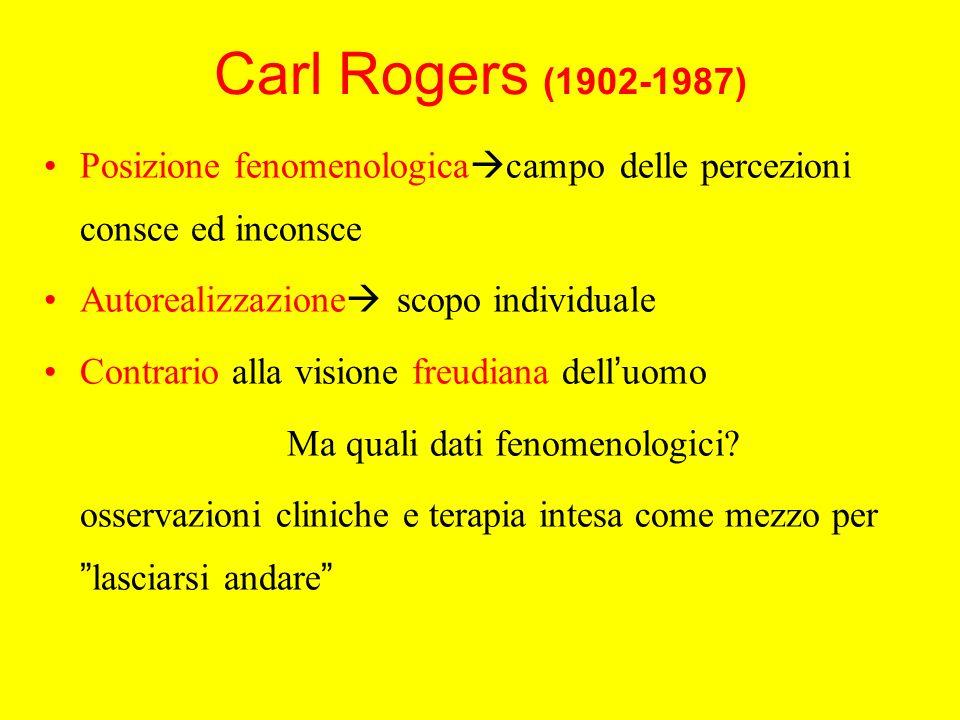 Carl Rogers (1902-1987) Posizione fenomenologica campo delle percezioni consce ed inconsce Autorealizzazione scopo individuale Contrario alla visione freudiana dell uomo Ma quali dati fenomenologici.
