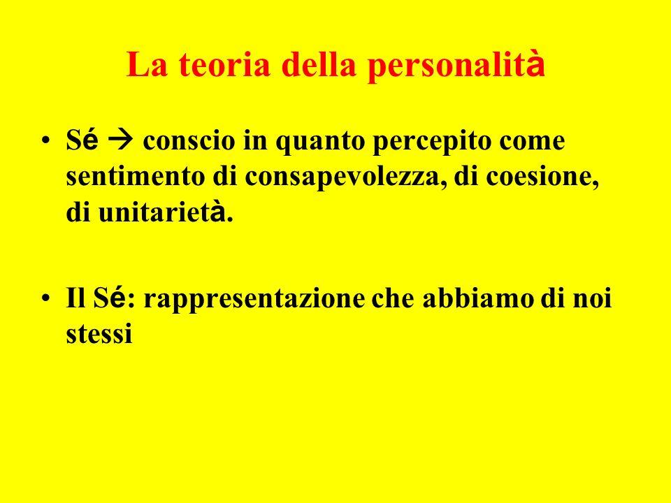 La teoria della personalit à S é conscio in quanto percepito come sentimento di consapevolezza, di coesione, di unitariet à.