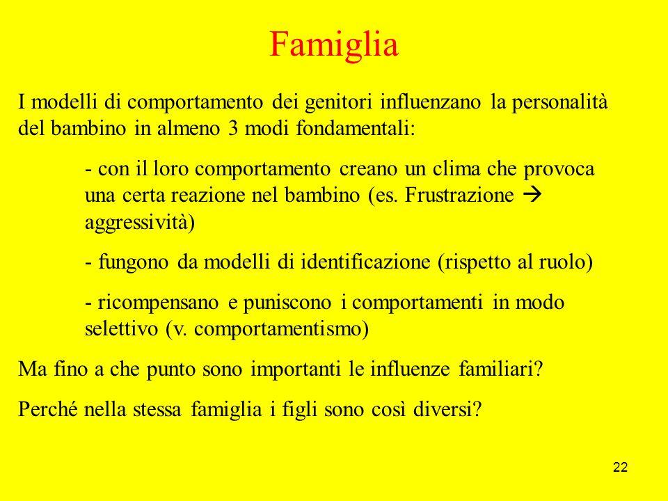 22 Famiglia I modelli di comportamento dei genitori influenzano la personalità del bambino in almeno 3 modi fondamentali: - con il loro comportamento creano un clima che provoca una certa reazione nel bambino (es.