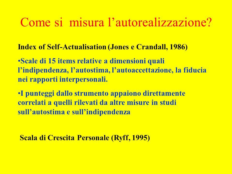 Index of Self-Actualisation (Jones e Crandall, 1986) Scale di 15 items relative a dimensioni quali lindipendenza, lautostima, lautoaccettazione, la fiducia nei rapporti interpersonali.