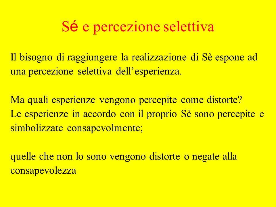 Il bisogno di raggiungere la realizzazione di Sè espone ad una percezione selettiva dellesperienza.