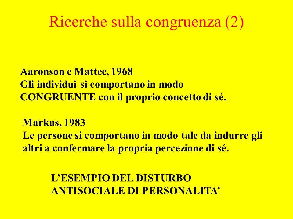 Aaronson e Mattee, 1968 Gli individui si comportano in modo CONGRUENTE con il proprio concetto di sé.