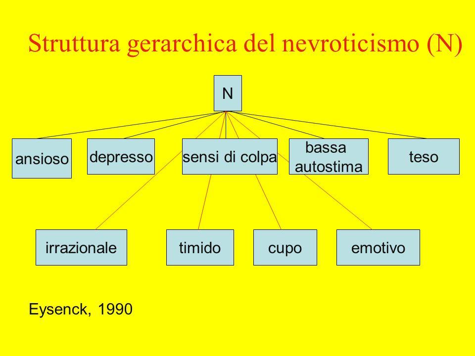 Struttura gerarchica del nevroticismo (N) N ansioso depressoteso timidoirrazionalecupoemotivo sensi di colpa bassa autostima Eysenck, 1990