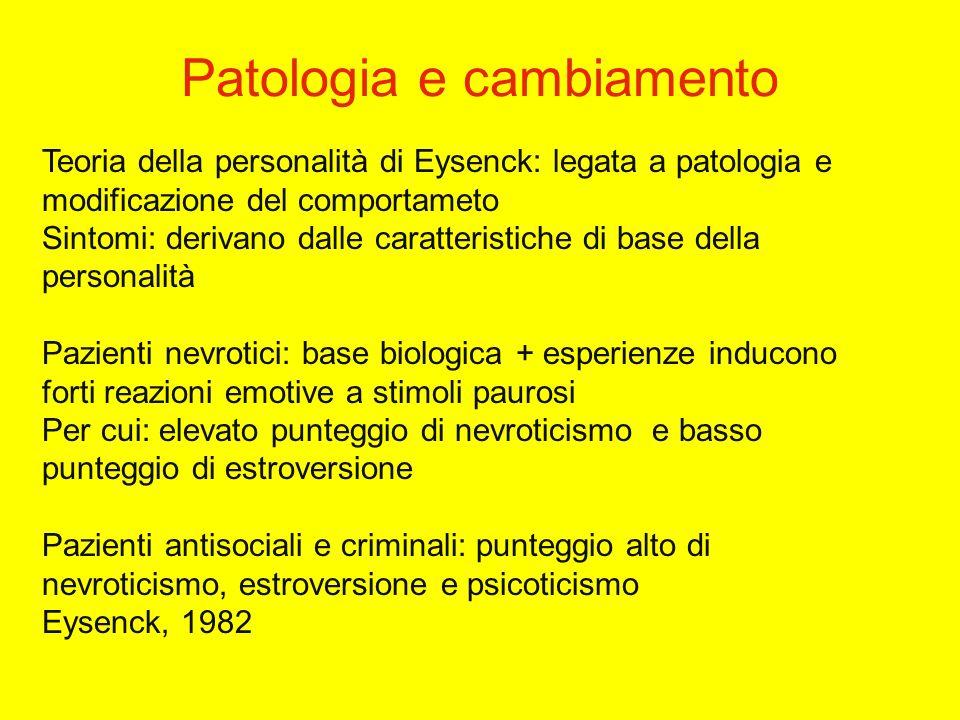 Teoria della personalità di Eysenck: legata a patologia e modificazione del comportameto Sintomi: derivano dalle caratteristiche di base della personalità Pazienti nevrotici: base biologica + esperienze inducono forti reazioni emotive a stimoli paurosi Per cui: elevato punteggio di nevroticismo e basso punteggio di estroversione Pazienti antisociali e criminali: punteggio alto di nevroticismo, estroversione e psicoticismo Eysenck, 1982 Patologia e cambiamento
