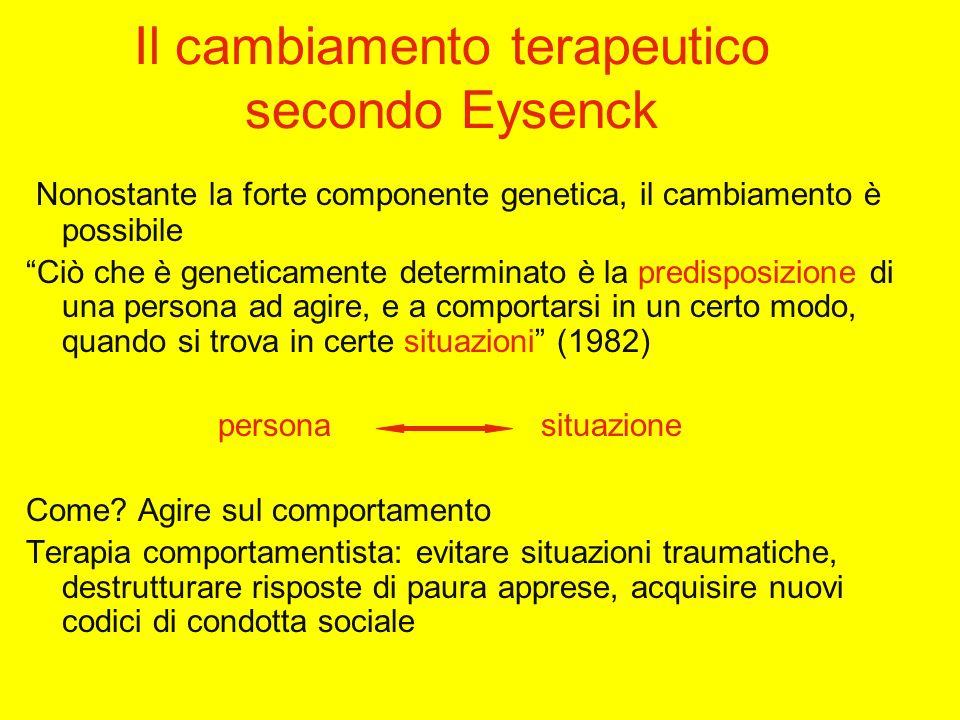 Il cambiamento terapeutico secondo Eysenck Nonostante la forte componente genetica, il cambiamento è possibile Ciò che è geneticamente determinato è la predisposizione di una persona ad agire, e a comportarsi in un certo modo, quando si trova in certe situazioni (1982) persona situazione Come.