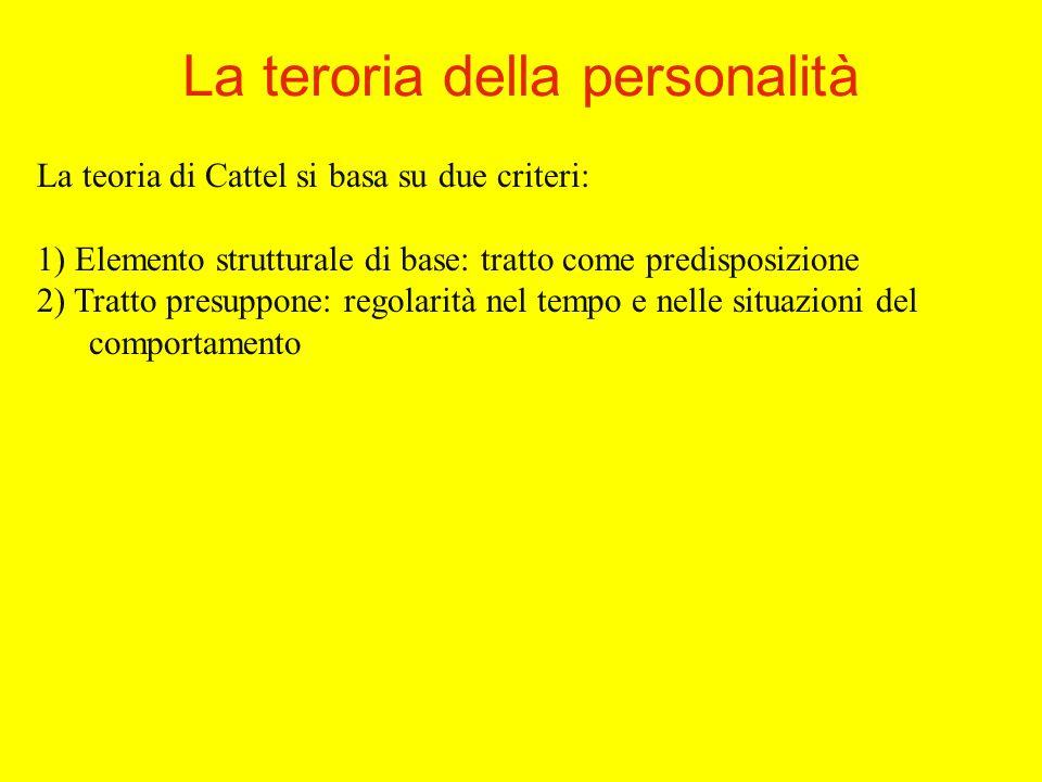 La teoria di Cattel si basa su due criteri: 1) Elemento strutturale di base: tratto come predisposizione 2) Tratto presuppone: regolarità nel tempo e nelle situazioni del comportamento La teroria della personalità