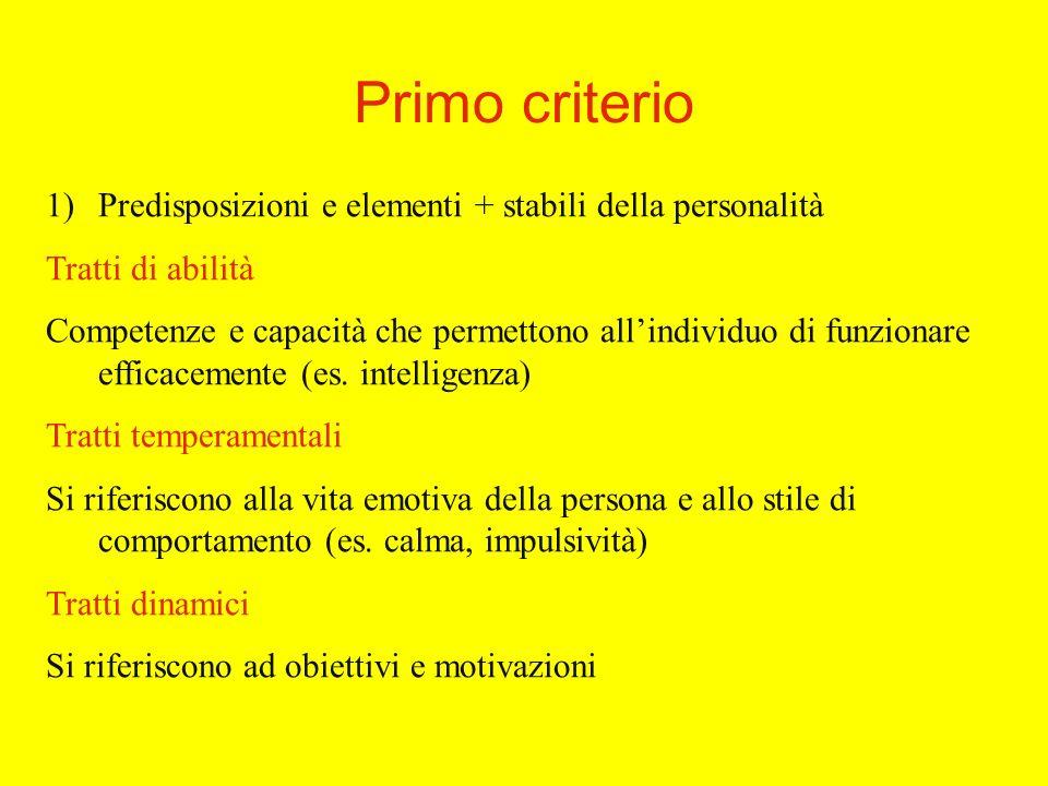 Primo criterio 1)Predisposizioni e elementi + stabili della personalità Tratti di abilità Competenze e capacità che permettono allindividuo di funzionare efficacemente (es.