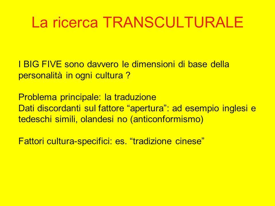 I BIG FIVE sono davvero le dimensioni di base della personalità in ogni cultura .