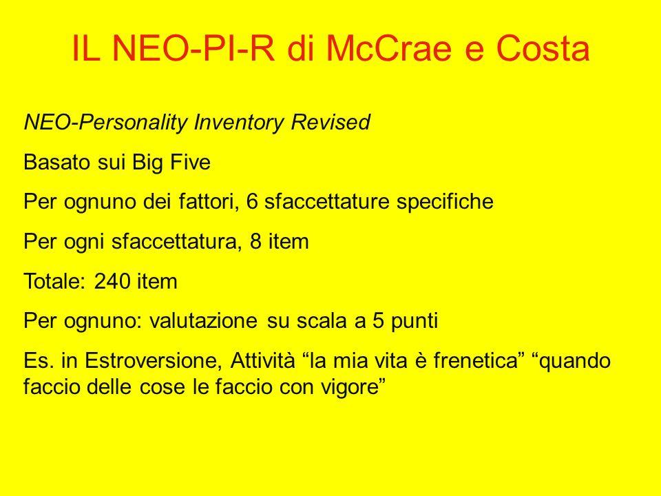 IL NEO-PI-R di McCrae e Costa NEO-Personality Inventory Revised Basato sui Big Five Per ognuno dei fattori, 6 sfaccettature specifiche Per ogni sfaccettatura, 8 item Totale: 240 item Per ognuno: valutazione su scala a 5 punti Es.
