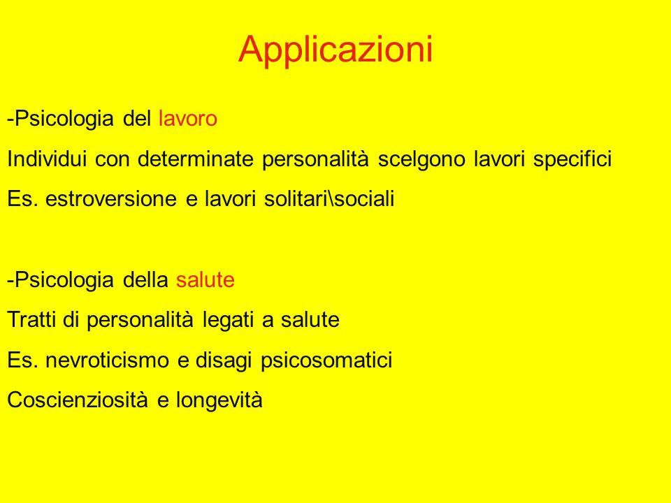 Applicazioni -Psicologia del lavoro Individui con determinate personalità scelgono lavori specifici Es.