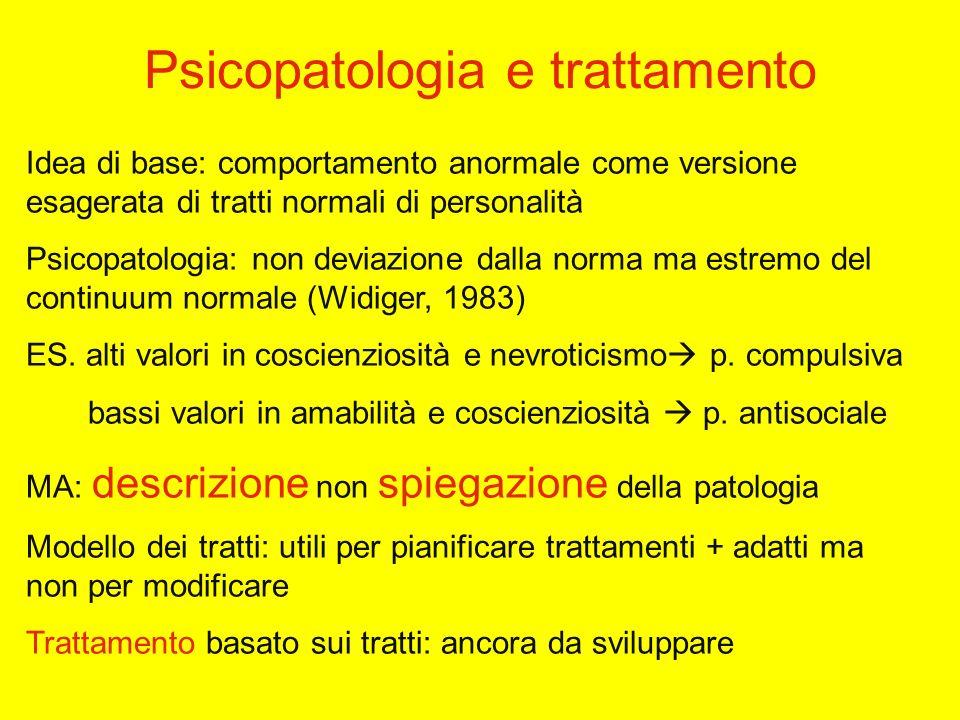Psicopatologia e trattamento Idea di base: comportamento anormale come versione esagerata di tratti normali di personalità Psicopatologia: non deviazione dalla norma ma estremo del continuum normale (Widiger, 1983) ES.