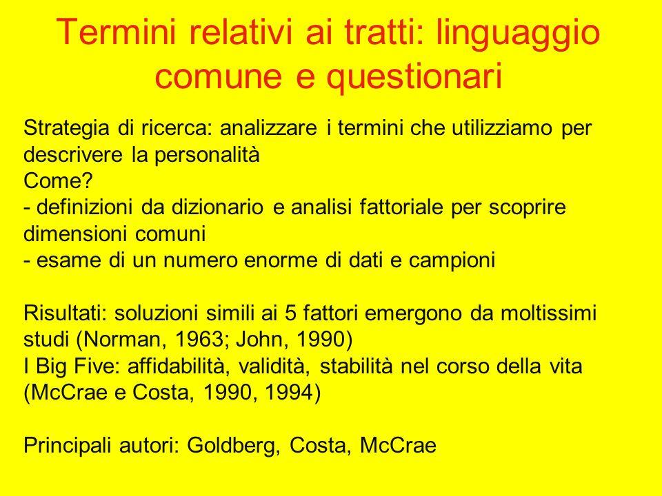 Termini relativi ai tratti: linguaggio comune e questionari Strategia di ricerca: analizzare i termini che utilizziamo per descrivere la personalità Come.