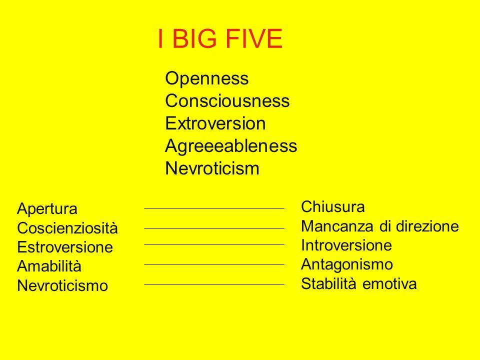 I BIG FIVE Openness Consciousness Extroversion Agreeeableness Nevroticism Apertura Coscienziosità Estroversione Amabilità Nevroticismo Chiusura Mancanza di direzione Introversione Antagonismo Stabilità emotiva