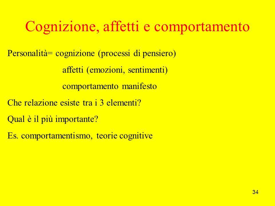 34 Cognizione, affetti e comportamento Personalità= cognizione (processi di pensiero) affetti (emozioni, sentimenti) comportamento manifesto Che relazione esiste tra i 3 elementi.