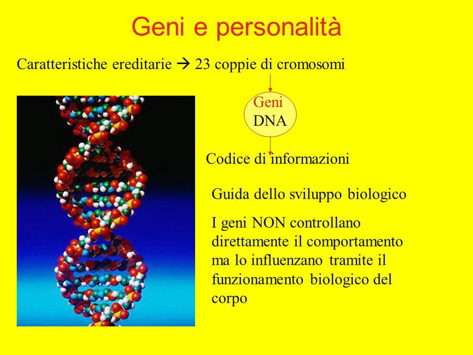 Caratteristiche ereditarie 23 coppie di cromosomi Geni DNA Codice di informazioni Geni e personalità Guida dello sviluppo biologico I geni NON controllano direttamente il comportamento ma lo influenzano tramite il funzionamento biologico del corpo