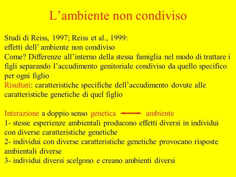 Studi di Reiss, 1997; Reiss et al., 1999: effetti dell ambiente non condiviso Come.