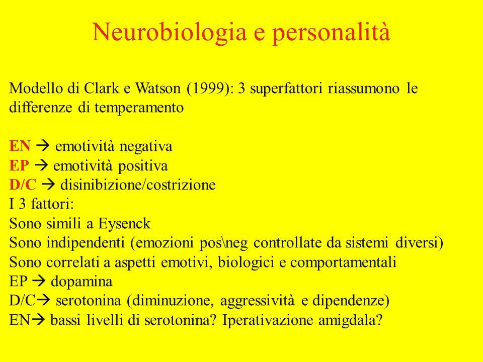 Modello di Clark e Watson (1999): 3 superfattori riassumono le differenze di temperamento EN emotività negativa EP emotività positiva D/C disinibizione/costrizione I 3 fattori: Sono simili a Eysenck Sono indipendenti (emozioni pos\neg controllate da sistemi diversi) Sono correlati a aspetti emotivi, biologici e comportamentali EP dopamina D/C serotonina (diminuzione, aggressività e dipendenze) EN bassi livelli di serotonina.