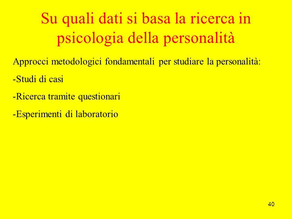 40 Su quali dati si basa la ricerca in psicologia della personalità Approcci metodologici fondamentali per studiare la personalità: -Studi di casi -Ricerca tramite questionari -Esperimenti di laboratorio