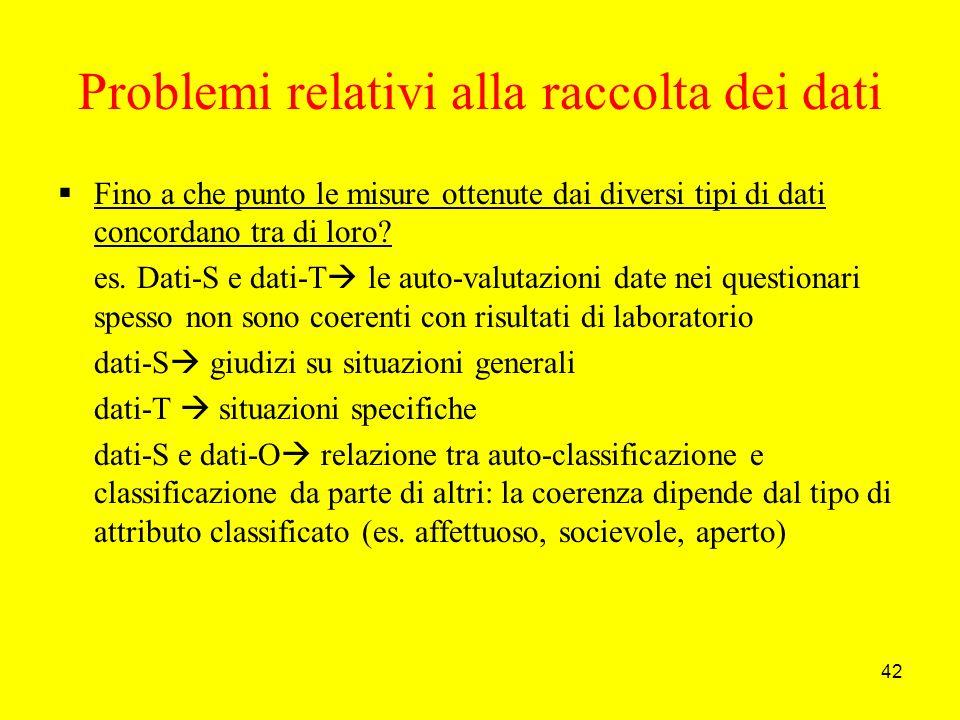 42 Problemi relativi alla raccolta dei dati Fino a che punto le misure ottenute dai diversi tipi di dati concordano tra di loro.