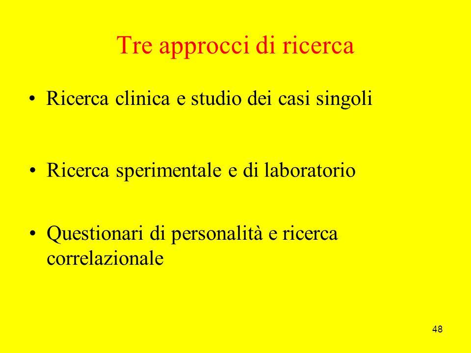 48 Tre approcci di ricerca Ricerca clinica e studio dei casi singoli Questionari di personalità e ricerca correlazionale Ricerca sperimentale e di laboratorio