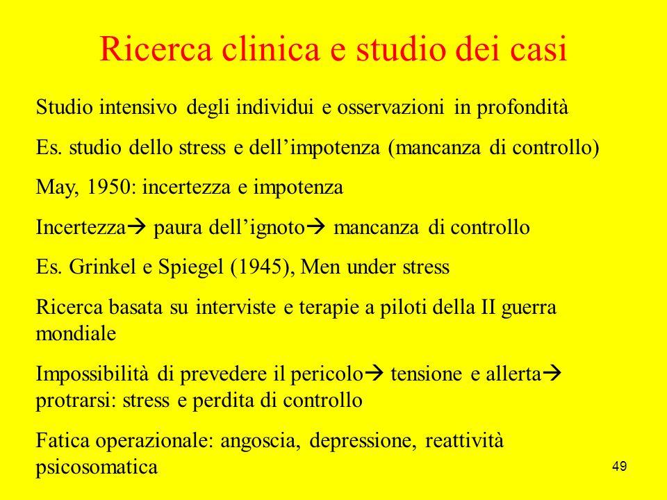 49 Ricerca clinica e studio dei casi Studio intensivo degli individui e osservazioni in profondità Es.