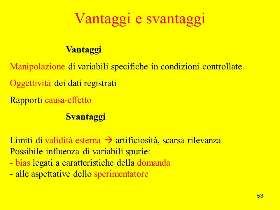 53 Vantaggi e svantaggi Vantaggi Manipolazione di variabili specifiche in condizioni controllate.