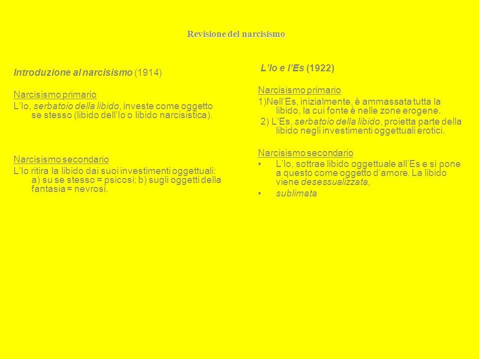 Revisione del narcisismo Introduzione al narcisismo (1914) Narcisismo primario LIo, serbatoio della libido, investe come oggetto se stesso (libido dellIo o libido narcisistica).