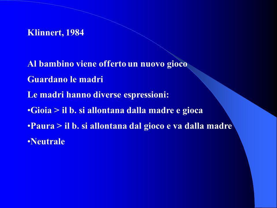 Klinnert, 1984 Al bambino viene offerto un nuovo gioco Guardano le madri Le madri hanno diverse espressioni: Gioia > il b. si allontana dalla madre e