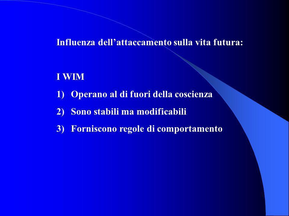 Influenza dellattaccamento sulla vita futura: I WIM 1)Operano al di fuori della coscienza 2)Sono stabili ma modificabili 3)Forniscono regole di compor