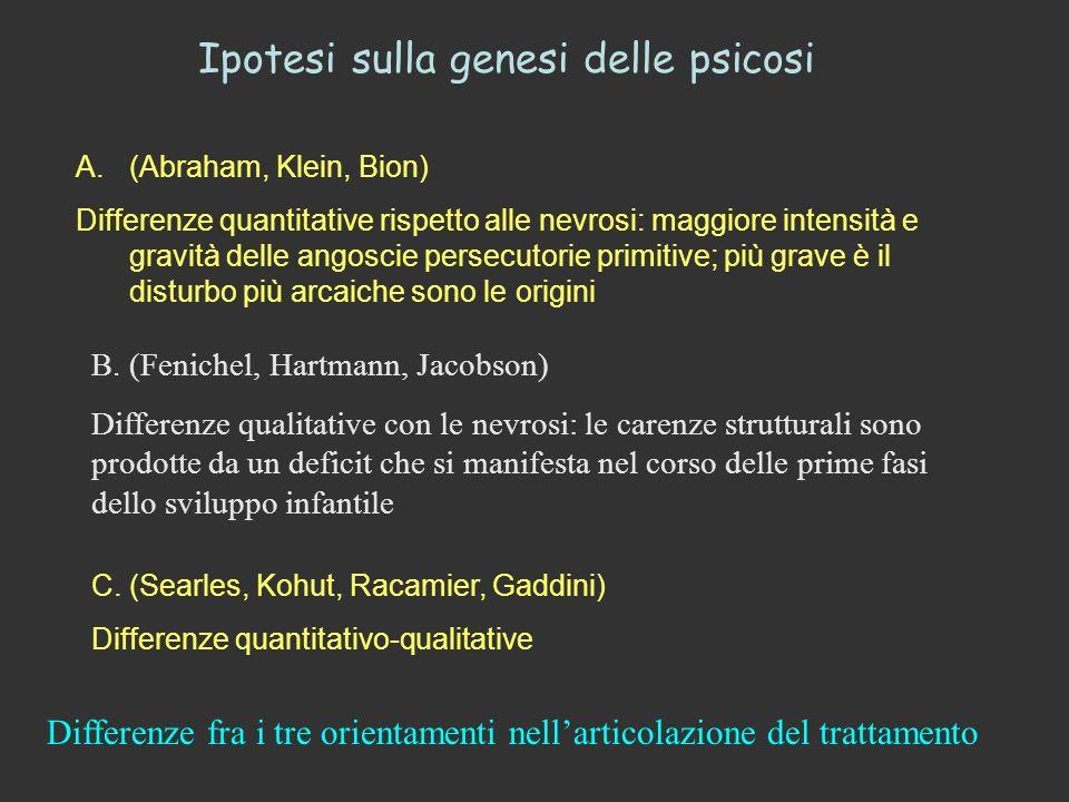 Ipotesi sulla genesi delle psicosi A.(Abraham, Klein, Bion) Differenze quantitative rispetto alle nevrosi: maggiore intensità e gravità delle angoscie